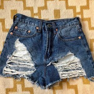 Zara Ripped Front Jean Shorts